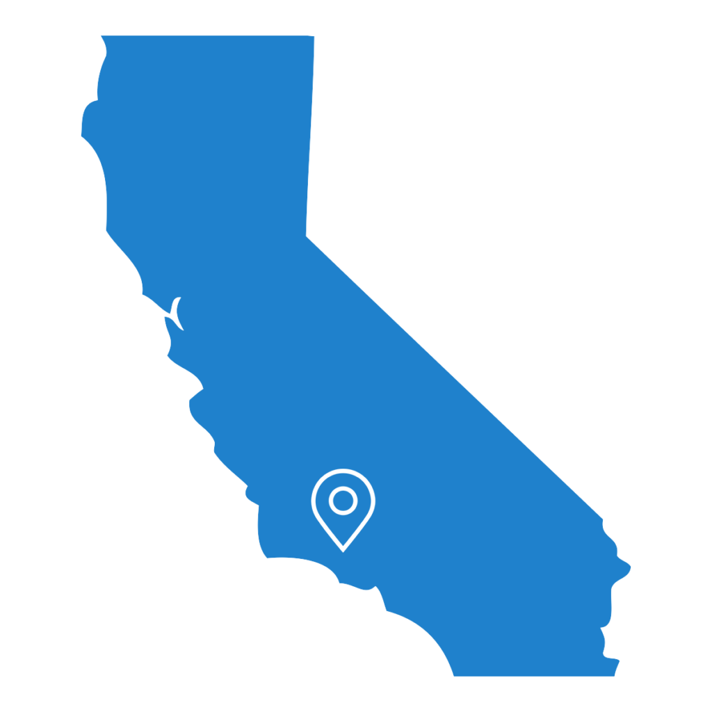 Map of California with a pin on Ventura County